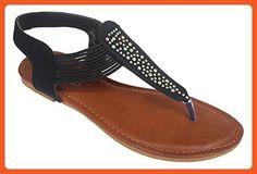 Elegant Women's Fashion Black Gladiator Thong Flat Sandals With Rhinestones Black 9 , M US - Sandals for women (*Amazon Partner-Link)