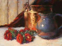 CopperPot, Pitcher and Flowers by Barbara Jaenicke Pastel ~ 12 x 16