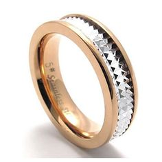 Konov Jewellery Lover's Men's Ladies Stainless Steel Promise Ring Couples Engagement Wedding Band, Valentine's Gift, Rose-Gold Silver Two-Tone, for Her, Womens, Size M