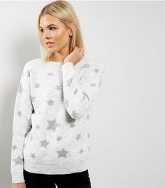 Light Grey Metallic Star Print Jumper  | New Look