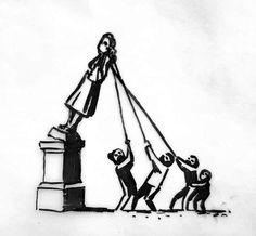 """La propuesta de banksy para llenar el pedestal de la estatua de Colston: inmortalizar a la estatua y a sus detractores en bronce y colocarlos de esta """"guisa"""" en el mismo lugar."""