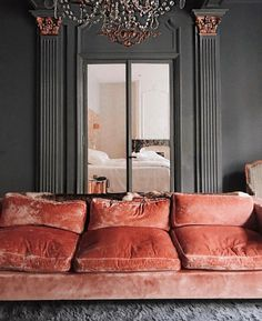 Home Interior Living Room .Home Interior Living Room Living Room Grey, Living Room Decor, Dining Room, High Design, Pink Velvet Sofa, Pink Couch, Velvet Room, Velvet Lounge, Red Velvet