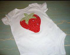 Appliqué Summer Strawberry baby girl onesie tshirt birthday