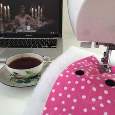 A little tea & Downton Abbey while I sew bunnies!  Hope you're having a Sunday Funday too! #etsyseller #mycreativebiz #makeitsewcial #creativityfound #shopsmall  #supporthandmade  #handmade #handmadelove #makers  #makersgonnamake #smallbiz #crafting #handmadeshop #sewfun #