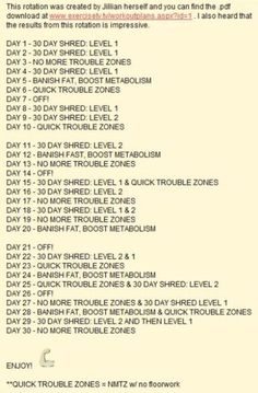 Jillian Michaels Rotation- starting this tomorrow. Doing all 30 Day Shred days, but all the other days will be 6 Week 6 Pack. Wish me luck...