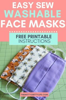 During times of shortage, the CDC recommended type of mask may not be available. Learn how to sew your own washable face masks with removable inserts for your family. Stay healthy and safe! Small Sewing Projects, Sewing Projects For Beginners, Sewing Hacks, Sewing Tutorials, Sewing Tips, Diy Projects, Dress Tutorials, Quilting For Beginners, Easy Face Masks