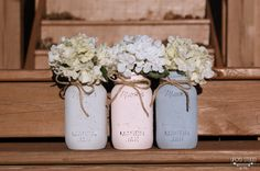 Painted Mason JarsPastel mason JarsVintageWedding by UPCYDstudio