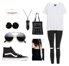 """""""black and white"""" by nighi on Polyvore featuring Topshop, Vans, Blooming Lotus Jewelry, MANGO, Bling Jewelry, women's clothing, women's fashion, women, female and woman"""
