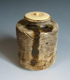 Japanese Shigaraki ceramic tea caddy or chaire at www.Jcollector.com