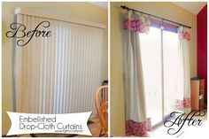 Embellished Drop-Cloth Curtains from www.mightycrafty.me