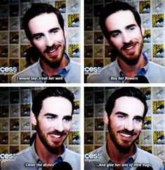 Colin giving Hook love advice. This is adorable, I agree.  Do the dishes? He is officially perfect.