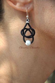 Cuero y pendientes de perlas 1 amistad Perla por ChristineChandler