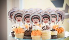 Photo Cupcake Toppers, Digital File - cowboy, cowgirl, Indian, chief, western,, first birthday, Thanksgiving, pow wow, party, birthday, by LyonsPrints on Etsy https://www.etsy.com/listing/247681258/photo-cupcake-toppers-digital-file