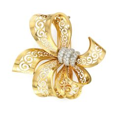 Gold and Diamond Lace Bow Clip
