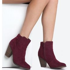 Cabernet colored ankle booties Faux suede rich burgundy wine color. Worn condition Breckelles Shoes Ankle Boots & Booties