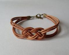 Natural brown leather strap bracelet with salior knot