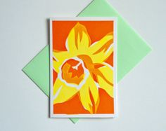 Original flower hand screen printed color greeting art card envelope colorful daffodil floral creative screenprint stationery handmade