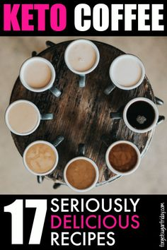 YUMMY keto coffee! You are going to seriously LOVE this list of keto coffee recipes. I've included keto coffee drinks like Keto Crack Coffee, Low Carb Pumpkin Spice Latte, Coconut Almond Mocha.... and even a coffee keto smoothie! Check out the list for all 17. #keto #ketorecipes #ketodiet #ketocoffee