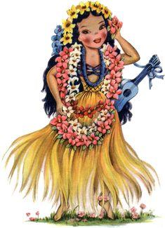 19 Retro Dolls of the World! - The Graphics Fairy Hawaiian Girls, Hawaiian Art, Vintage Greeting Cards, Vintage Postcards, Vintage Pictures, Vintage Images, Vintage Clip, Vintage Illustration, Hula Girl