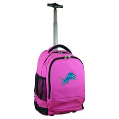 NFL Detroit Lions Premium Wheeled Backpack - Pink