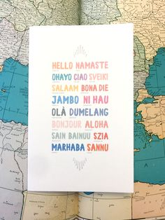 Say Hello anywhere you go! Over 17 beautiful languages are featured on this handmade, Eco-Friendly Sketchbook! Quirky Gifts, Cool Gifts, Nurse Gifts, Teacher Gifts, Say Hi, Say Hello, Romantic Poems, Tv Show Quotes, Secret Santa Gifts