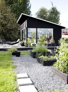 This is the timber I& like for the planter boxes Outbuilding Swedish orangery Agneta Enzell ; Gardenista This is the timber Id like for the planter boxes Outbuilding Swedish orangery Agne Outdoor Spaces, Outdoor Living, Indoor Outdoor, Backyard Studio, Backyard Retreat, Backyard Cottage, Shed Plans, House Plans, Black House
