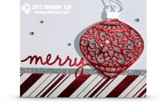 Stampin Up Christmas ornament card by sandy carlson. ——— S U P P L I E S ———  • Delicate Ornament Thinlits Dies #139667 • Christmas Greetings Thinlits Dies #139659 • Red Foil Sheets #139607 • Silver Foil Sheets #132178 • Silver Glimmer Paper #135314 • Holidays Fancy Foil Designer Vellum #139597 • Whisper White 8-1/2X11 Card Stock #100730 • Basic Rhinestones Jewel Accents #119246 • Silver Cording Trim #139620