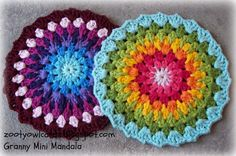 Colorful crochet mandalas in granny stitch! Head over to Zooty Owl to crochet some colorful mini mandalas. Mini Mandala, Crochet Mandala Pattern, Crochet Circles, Granny Square Crochet Pattern, Crochet Patterns, Diy Crochet, Crochet Crafts, Crochet Doilies, Crochet Projects
