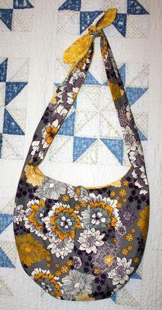 Cross Body Hobo Bag Purse. Reversible Grey by RowesFlyingNeedles