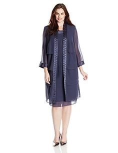 415a8697375 Le Bos Women s Plus-Size Tiered Duster Jacket Dress