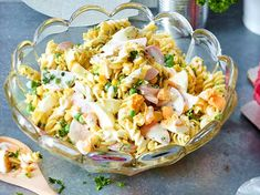 Classic pasta salad with meat sausage recipe DELICIOUS, Hamburger Meat Recipes, Sausage Recipes, Chicken Salad Recipes, Pasta Recipes, Chorizo, Oven Vegetables, Cooking Whole Chicken, Meat Salad, Creamy Pasta