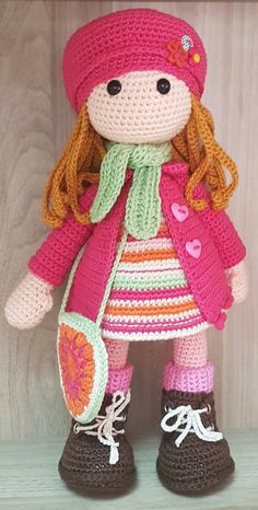 Doll Amigurumi Free Pattern, Crochet Doll Pattern, Crochet Patterns Amigurumi, Amigurumi Doll, Knitting Dolls Clothes, Knitted Dolls, Crochet Crafts, Crochet Projects, Crochet Girls
