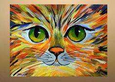 THANK YOU FOR YOUR INTEREST IN MY ART Original Abstract Cat Portrait Painting Acrylic on Canvas 12x16 About the Painting : Dimension: 12 x 16 x 0.5 depth TITLE - Colorful Kitty 2 Medium: acrylic Acid free gallery wrapped cotton canvas (staples are on back, not on sides). The sides of the canvas are painted in black color. Painting is Varnished with gloss clear varnish to protect it from UV and dust. Paintings are signed on front and the back. READY TO HANG COA: Each painting purch...