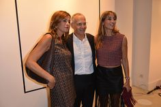 Cristina and Benedetta Parodi with Pietro Negra at #THEPINKOINVASION #sunglasses collection launch event #PINKO #MFW #SS16