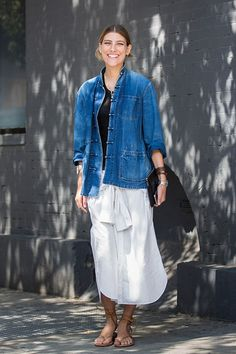 Le Fashion Blog End Of Summer Street Style Denim Jacket Wrap Bracelet White Tie Front Skirt Shirt As Skirt Nude Tan Lace Up Sandals Via Garance Dore