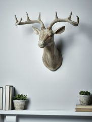 With a delicate washed finish and intricate carved details, our majestic Faux Wooden Deer Head epitomises country charm. A lovely feature above your mantelpiece or in your hallway, the rustic wood effect details perfectly complement the elegant shape. Wood Deer Head, Deer Head Decor, Faux Deer Head, Wooden Wall Art, Wooden Walls, Wall Ornaments, Decoration, Wall Art Decor, Home Accessories