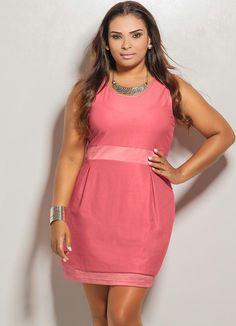 Vestido Curto Plus Size (Rosa)