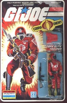 A Crimson Guard trooper, one of Cobra's elite soldiers, from the G.I.Joe line of toys