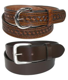 One belt has a basket weave embossing that adds a touch of western style. Measuring 1 3/8 inches wide this strap is mean for durability. The buckle is antiqued nickel, and can be removed easily to replace with your own buckle.