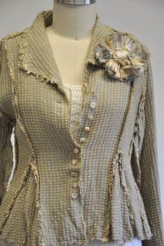Hobo Jacket in Checked Silk Matka, Oat