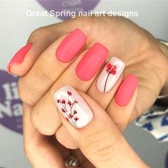 Spring nails are cute yet fashionable. Find easy latest spring nail designs, ideas & trends in spring coffin nails, acrylic nails and gel spring nail colors. Fall Nail Art Designs, Flower Nail Designs, Short Nail Designs, Flower Nail Art, Cute Spring Nails, Spring Nail Colors, Spring Nail Art, Cute Nails, Summer Nails