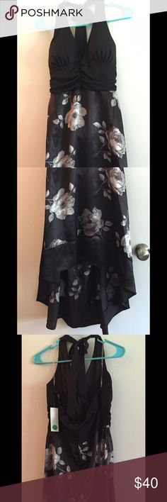 Great black halter/flower print high-low dress This great looking dress still has its tags. Gorgeous halter dress with short in the front long in the back. Alyn Paige Dresses