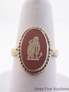 Wedgwood Crimson Jasperware Sterling Silver Vermeil  Hope w Anchor Cameo Ring