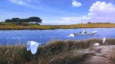 """Open Boat and Egrets on Taylor's Creek"" Alkyd. A recent painting of mine. www.robertbdance.com. Check out my latest #lastminute #holiday #Deals!!  Fore the Shell Collection 17& off for the Open Edition-  http://stuartdance.com/shellcollectionSSD17.html and for Cape Lookout Classics: http://stuartdance.com/capelookoutclassicsSSD40.html"