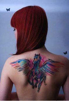 pegaz on back   watercolor tattoos