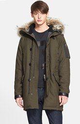 rag & bone Arctic Military Wool Blend Parka with Genuine Coyote Fur Trim