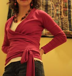 Wrap Top Tutorial. I like it with the tank top underneath.