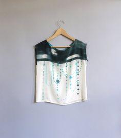 INDIGO IKAT DOT made to order blouse - Custom sizing St Just, Paint Shirts, Fashion Beauty, Woman Fashion, Diy Fashion, How To Feel Beautiful, Silk Top, Fabric Design, Spring Fashion