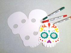 5 You Color Sugar Skulls - Day of the Dead Party - Dia de los Muertos by CleverMarten on Etsy