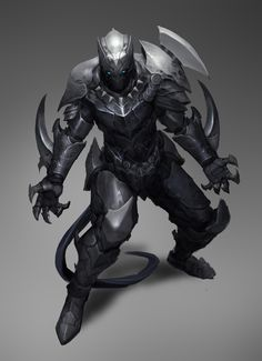 Black Panther by Reza-ilyasa fighter dark knight platemail plate armor clothes clothing fashion player character npc | Create your own roleplaying game material w/ RPG Bard: www.rpgbard.com | Writing inspiration for Dungeons and Dragons DND D&D Pathfinder PFRPG Warhammer 40k Star Wars Shadowrun Call of Cthulhu Lord of the Rings LoTR + d20 fantasy science fiction scifi horror design | Not Trusty Sword art: click artwork for source